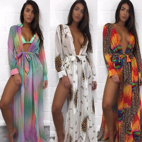 Women Dress Tunic Pareos Ladies Kaftan Robe Cover-up