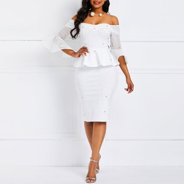 Women Beaded Stylish Ruffles Mesh Flare Sleeve Dress