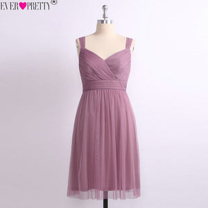 Sweetheart Tulle A-line V-neck Dusty Pink Dress