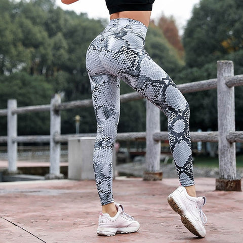 Women High Waist Push Up Snake Print Leggings