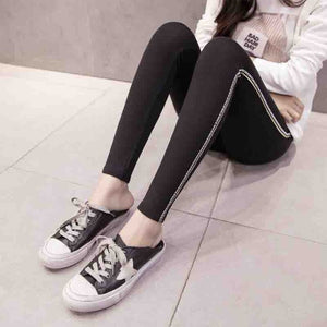 Women Casual 2 Stripe High Waist Leggings