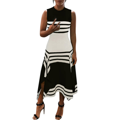 Women Summer Round Neck Fashion Stripe Midi Party Casual Dress