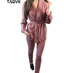 Women Set Belt Blazer top and pencil pants two piece Pantsuit