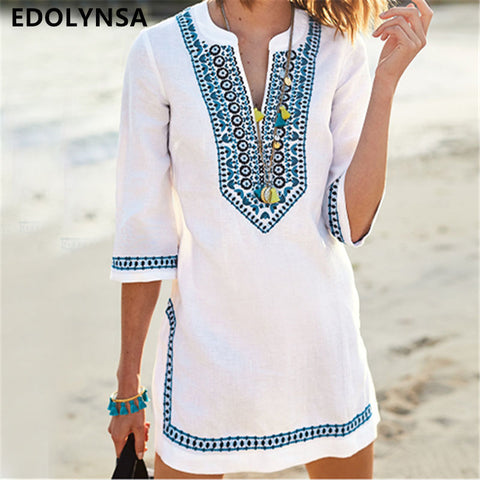 Women Beachwear Cover-ups Vintage Embroidered Summer Beach Dress