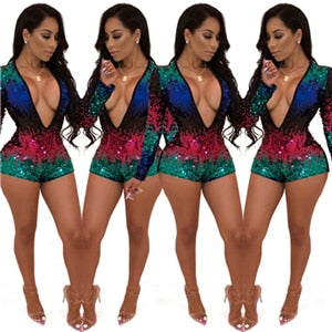 Colorful Sequins Deep V-Neck Night Club Party Playsuit