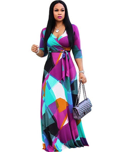 Colorful Print Maxi Slim V-neck Dress