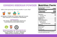 Nutrition facts Ginseng Siberian Powder