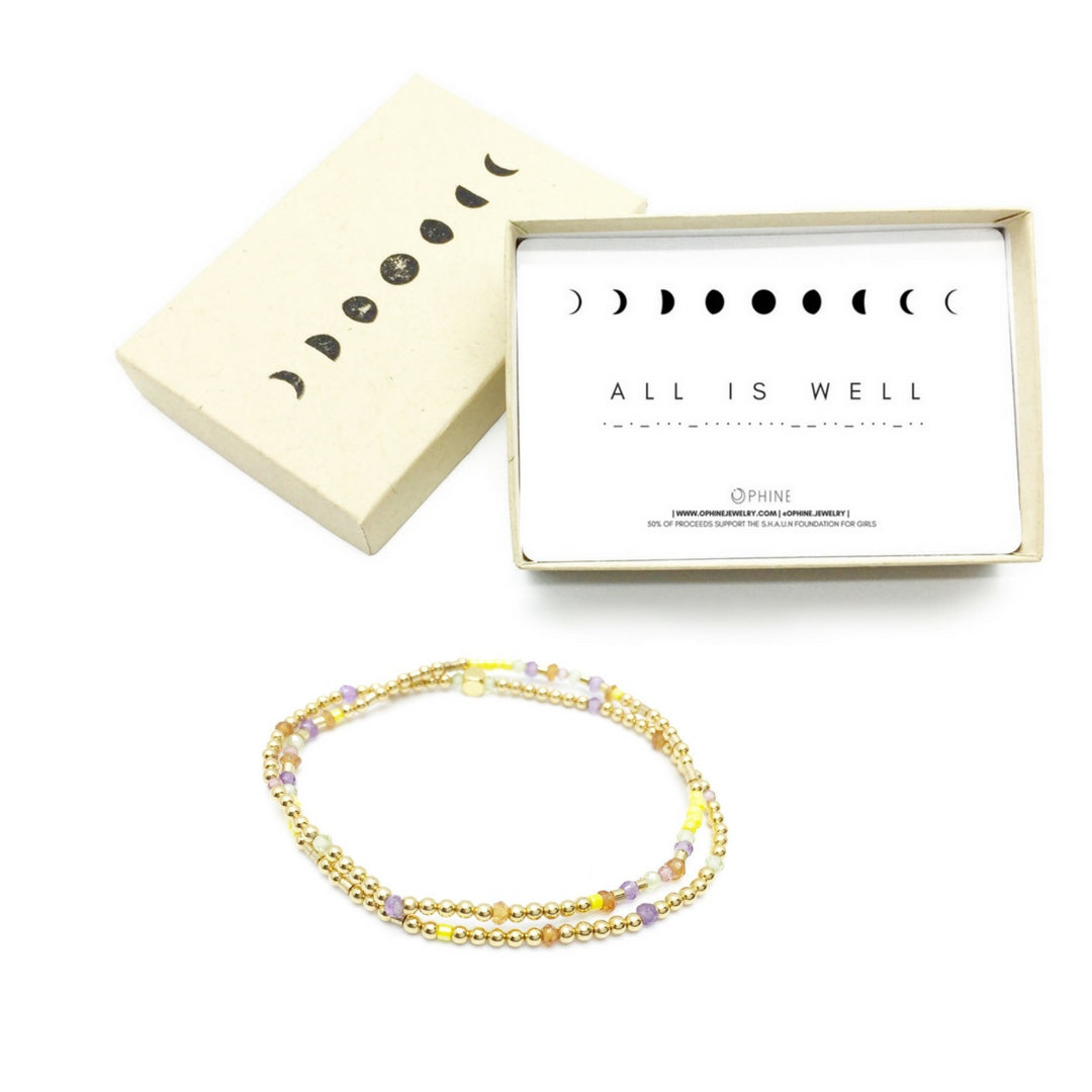 ALL IS WELL Double-Wrap Morse Code Mala® Bracelet