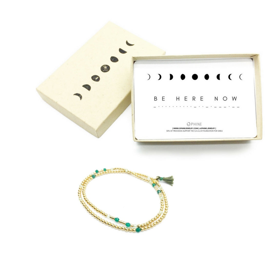 BE HERE NOW Double-Wrap Morse Code Mala® Bracelet