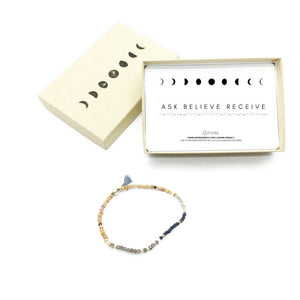 ASK BELIEVE RECEIVE Sandalwood Morse Code Mantra® Bracelet