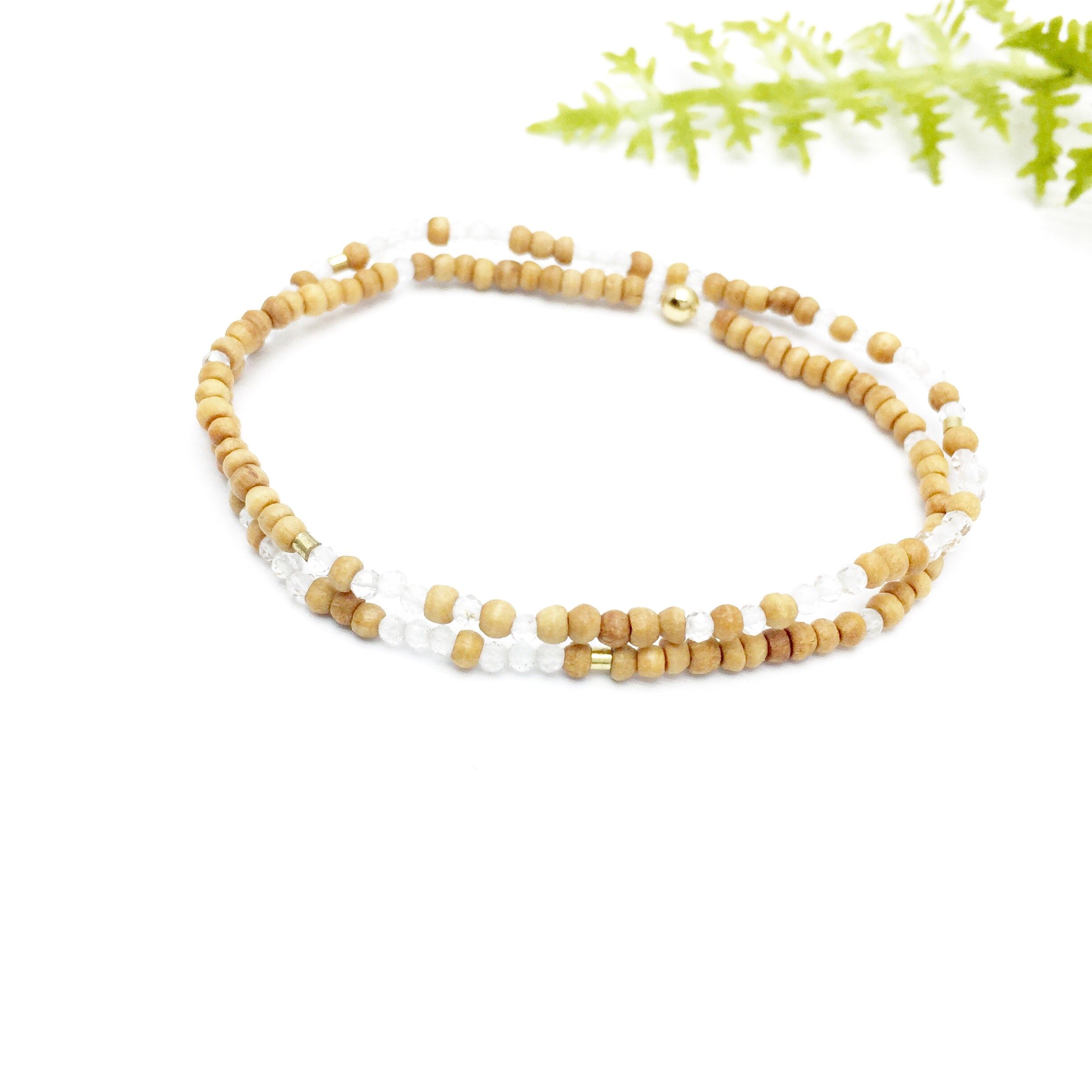 DREAMS COME TRUE Double-Wrap  Sandalwood Morse Code Mala® Bracelet