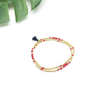 NEVER GIVE UP Double-Wrap Morse Code Mala® Bracelet