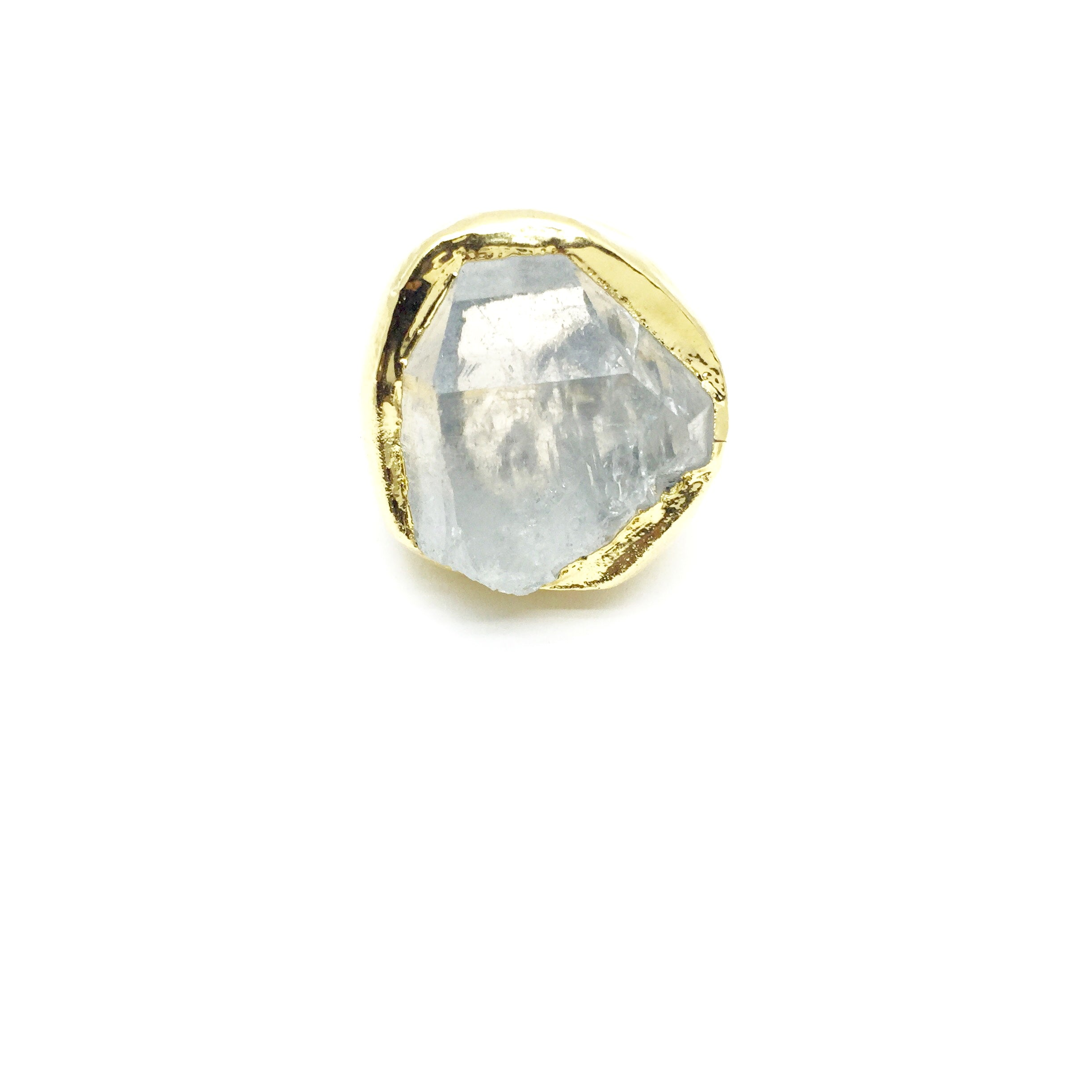 HEAVENLY HEXAGON Raw Quartz Crystal Ring