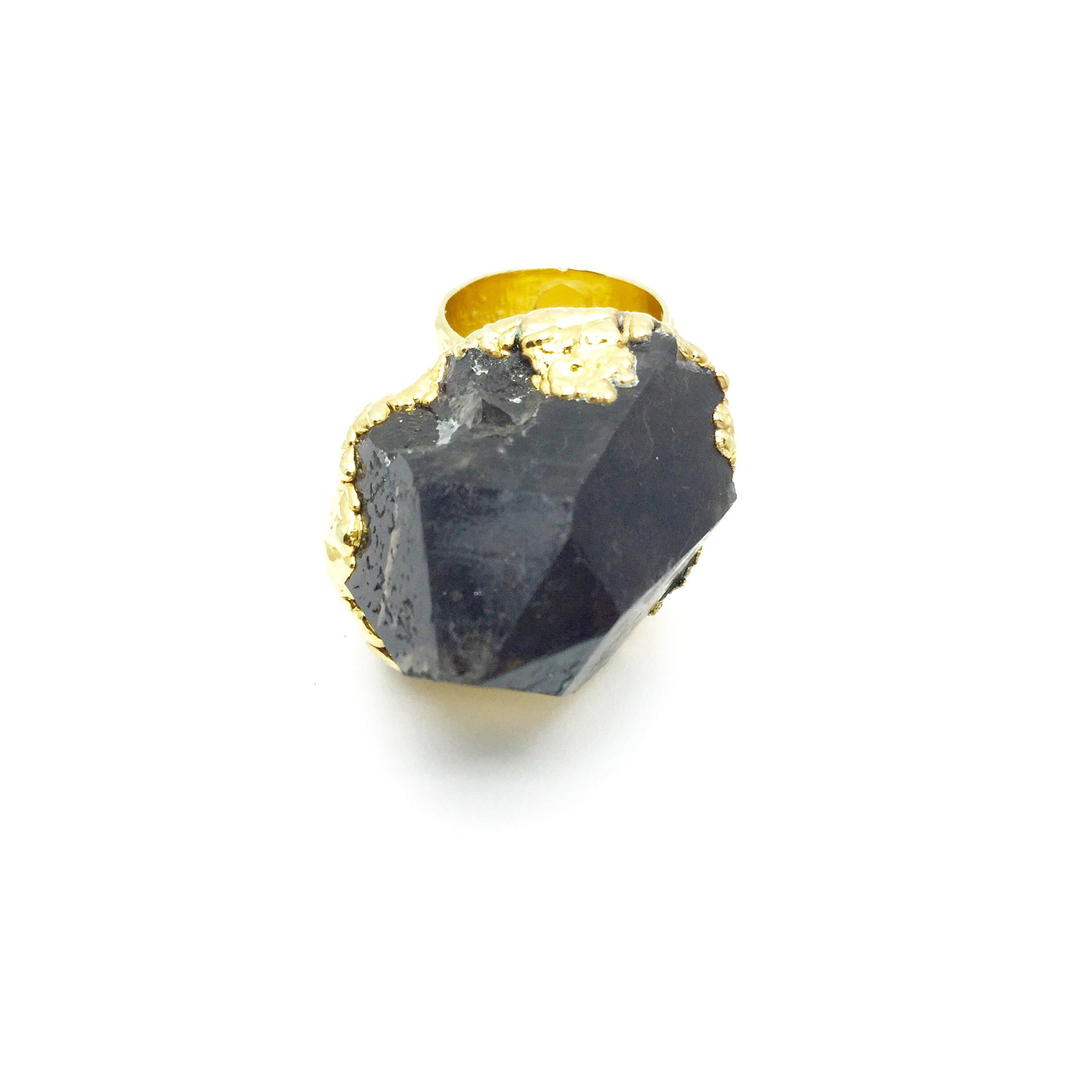 CRYSTAL PEAK Raw Smoky Quartz Crystal Ring