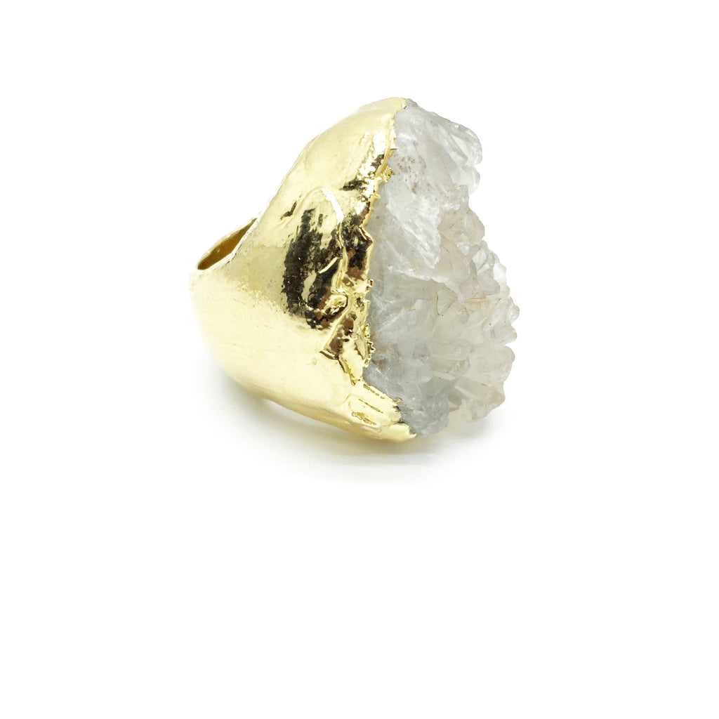 CRYSTAL FIELDS Raw Quartz Crystal Ring