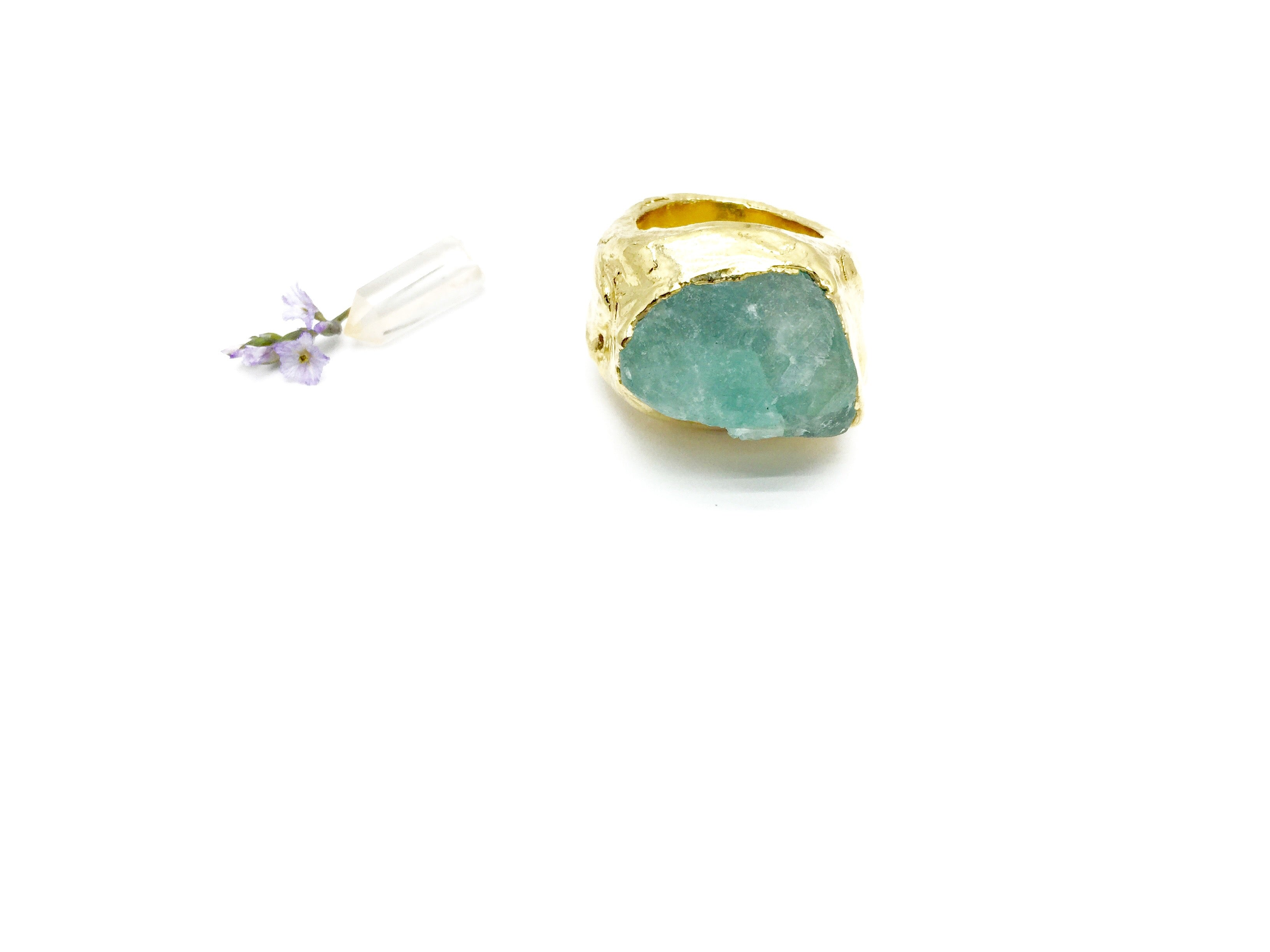FLOURISH Raw Fluorite Crystal Ring