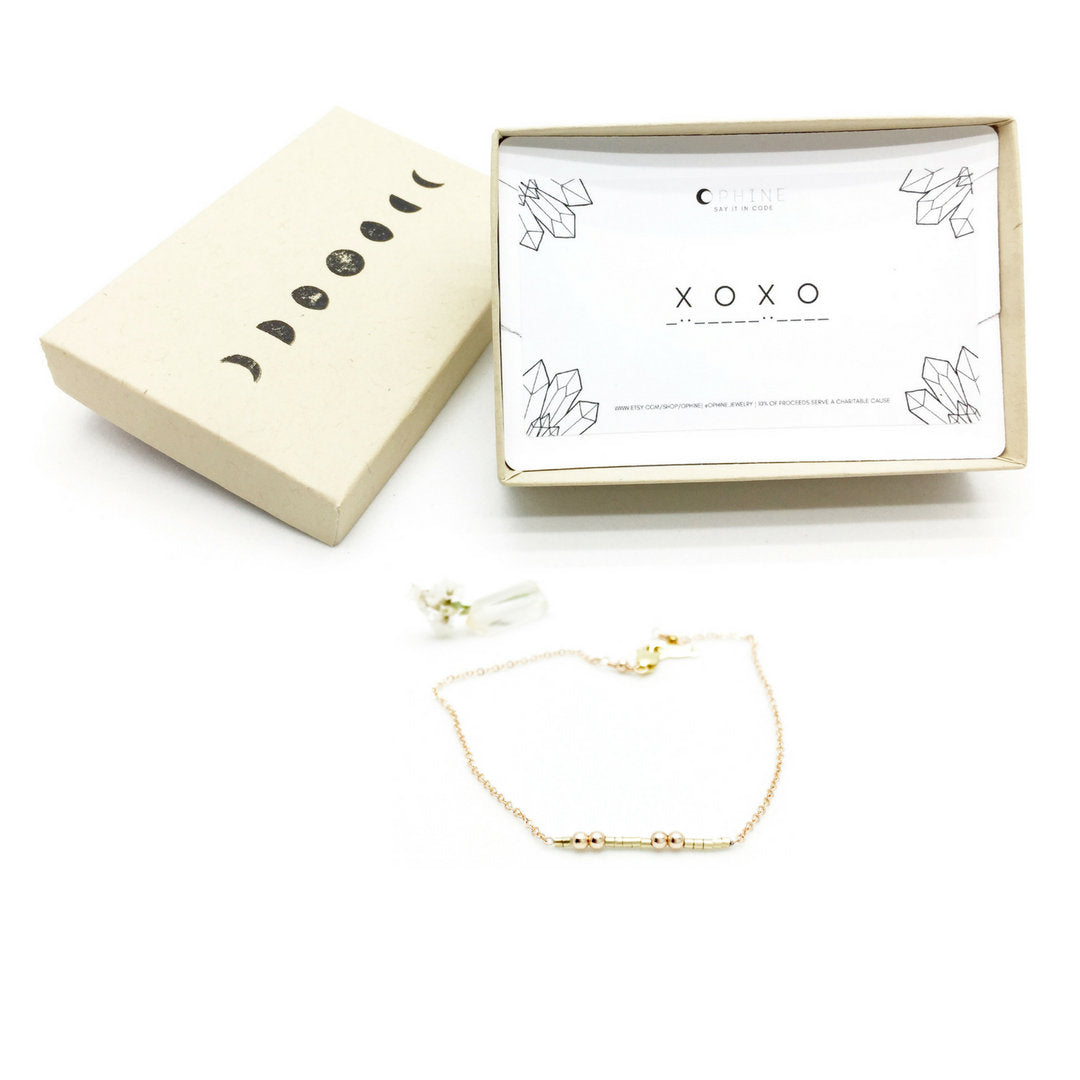 XOXO Morse Code Necklace