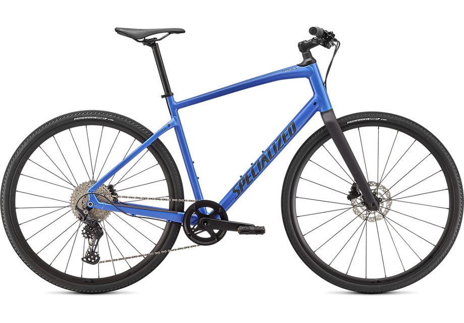 blue colored specialized fitness hybrid bike