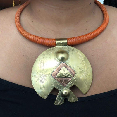 Oluchi Brass Leather Necklace