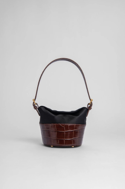 MINI JAMIE NUTELLA CROCO EMBOSSED LEATHER AND BLACK SILK