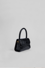 MINI BLACK CROCO EMBOSSED LEATHER