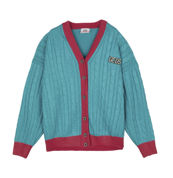 GCDS LOG REVIVAL CARDIGAN GREEN