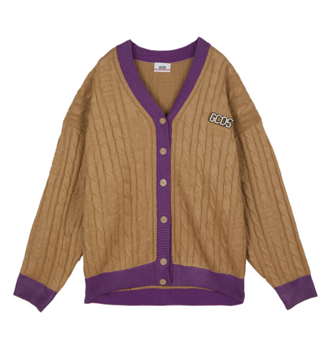 GCDS LOG REVIVAL CARDIGAN BEIGE