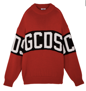 GCDS LOGO SWEATER RED