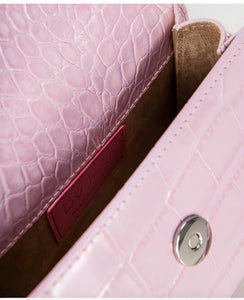 By Far Mini PINK CROCO EMBOSSED LEATHER