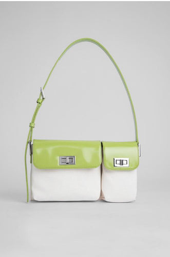 By Far BILLY NATURAL CANVAS AND LIME GREEN SEMI PATENT LEATHER