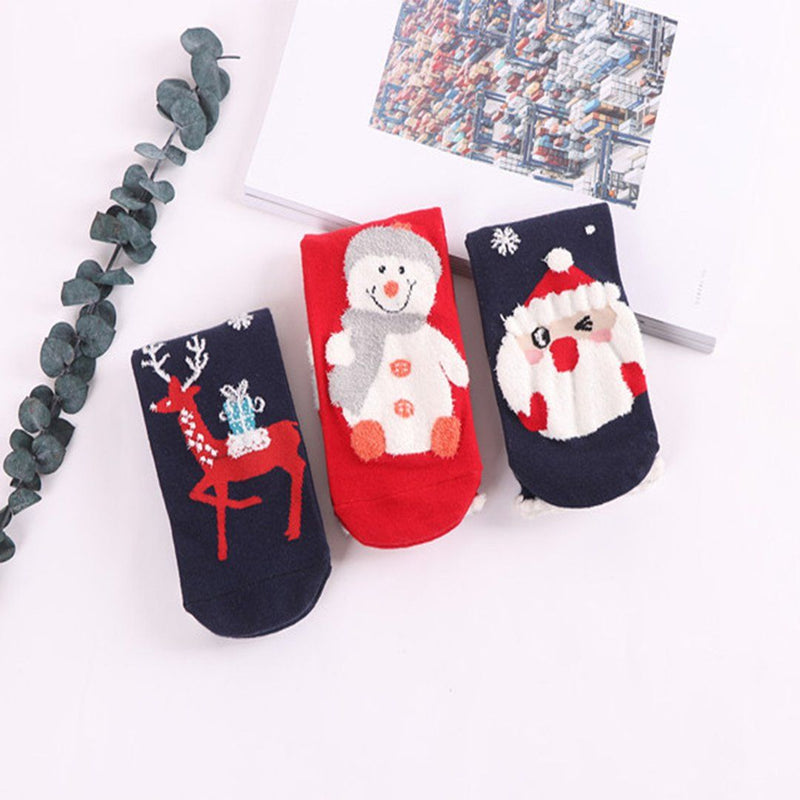 Weihnachts-Comic-Muster Socken, 3 Paare
