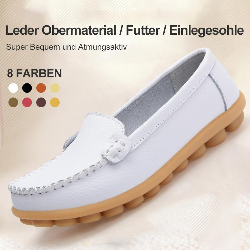 Damen Leder Slip-on Flache Loafer Schuhe