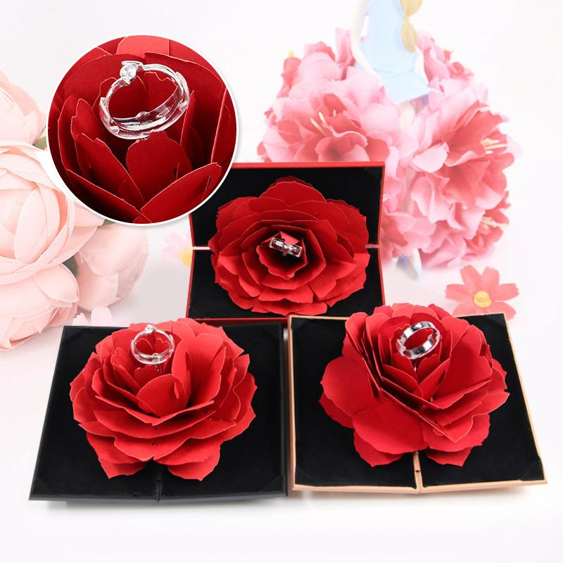 3D Pop Up Rose Ringschachtel