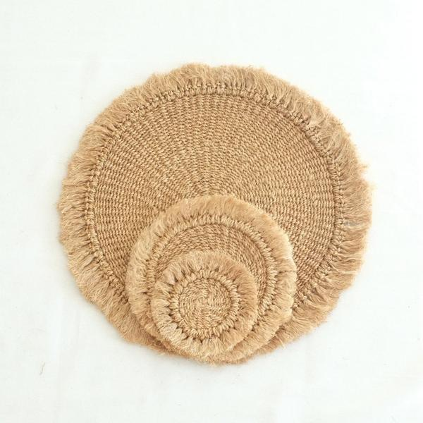 Abaca Fringed Coaster (Set of 4) - Camel