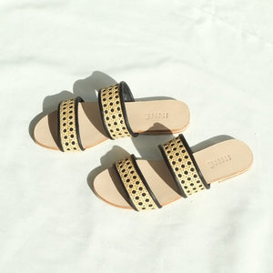 Sinta Double Strap Slide - Black