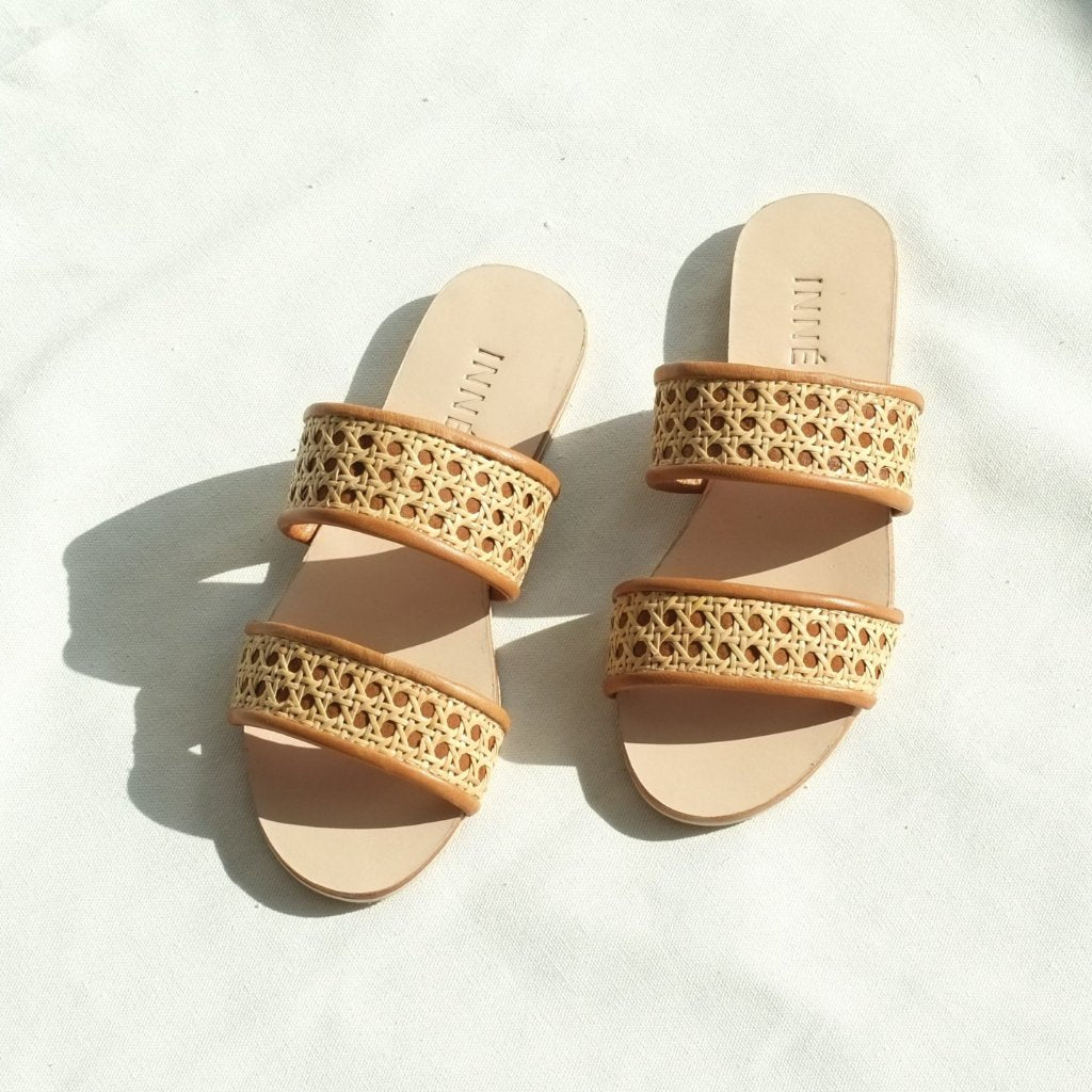 Sinta Double Strap Slide - Tan