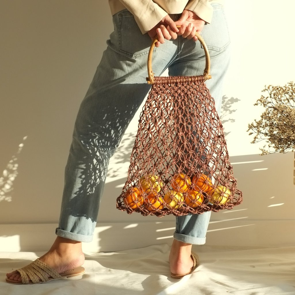 Natalia Handle Macrame Bag - Wine