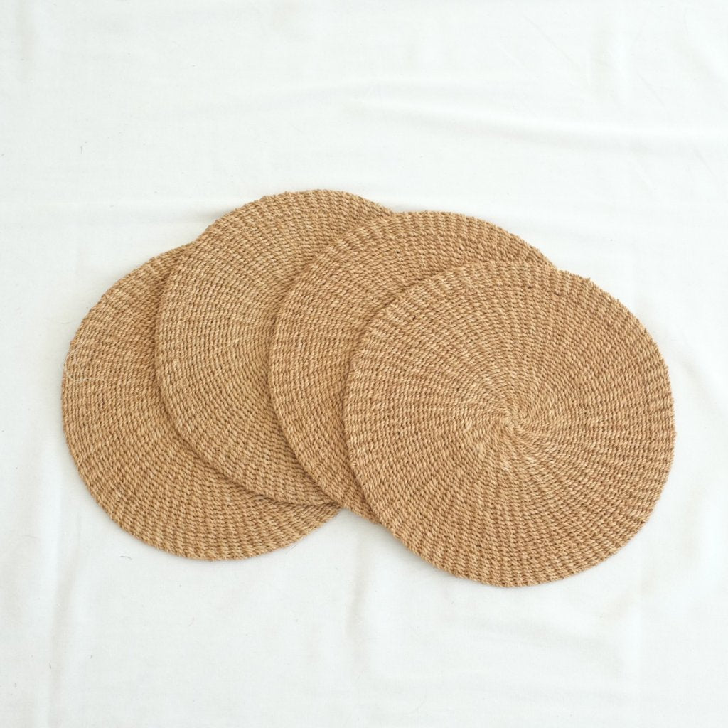 Abaca Round Placemat (Set of 4) - Camel
