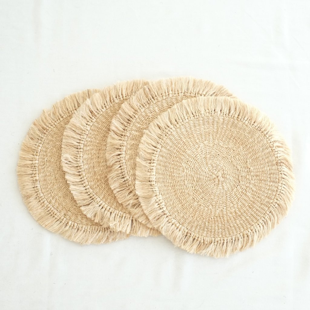 Abaca Fringed Placemat (Set of 4) - Natural