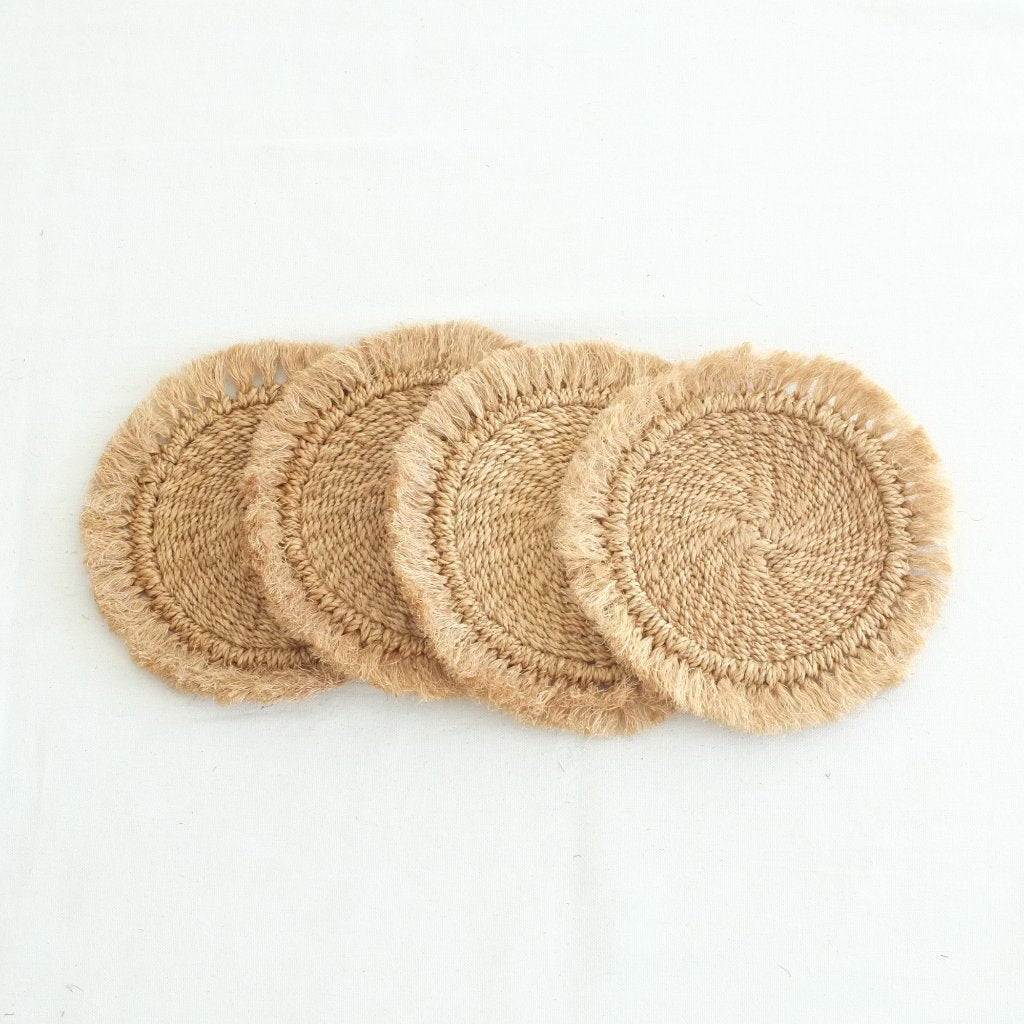 Abaca Fringed Hot Pad (Set of 4) - Camel