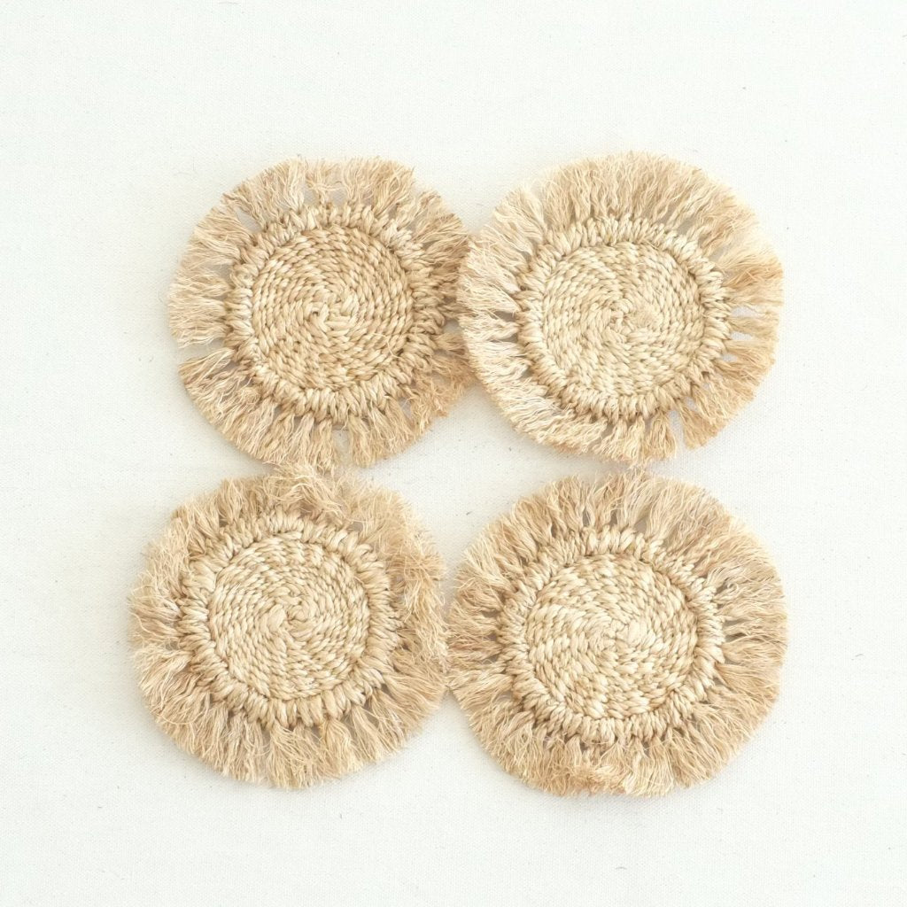 Abaca Fringed Coaster (Set of 4) - Natural