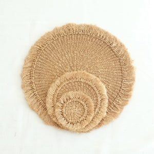 Abaca Fringed Placemat (Set of 4) - Camel
