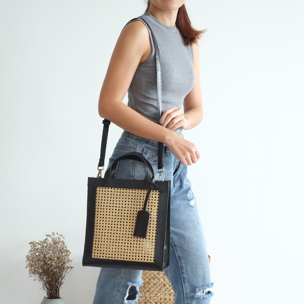 Sia Two-Way Tote - Black