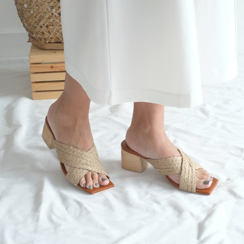 Clara Cross Strap Heel - Natural