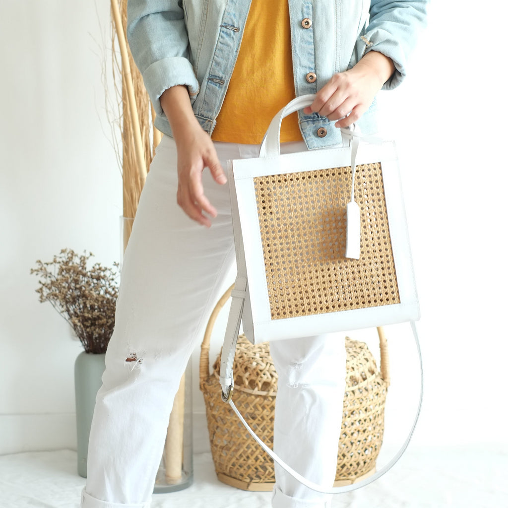 Sia Two-Way Tote - White