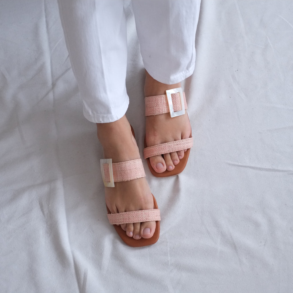 Selena Raffia Slide w/ Shell - Blush