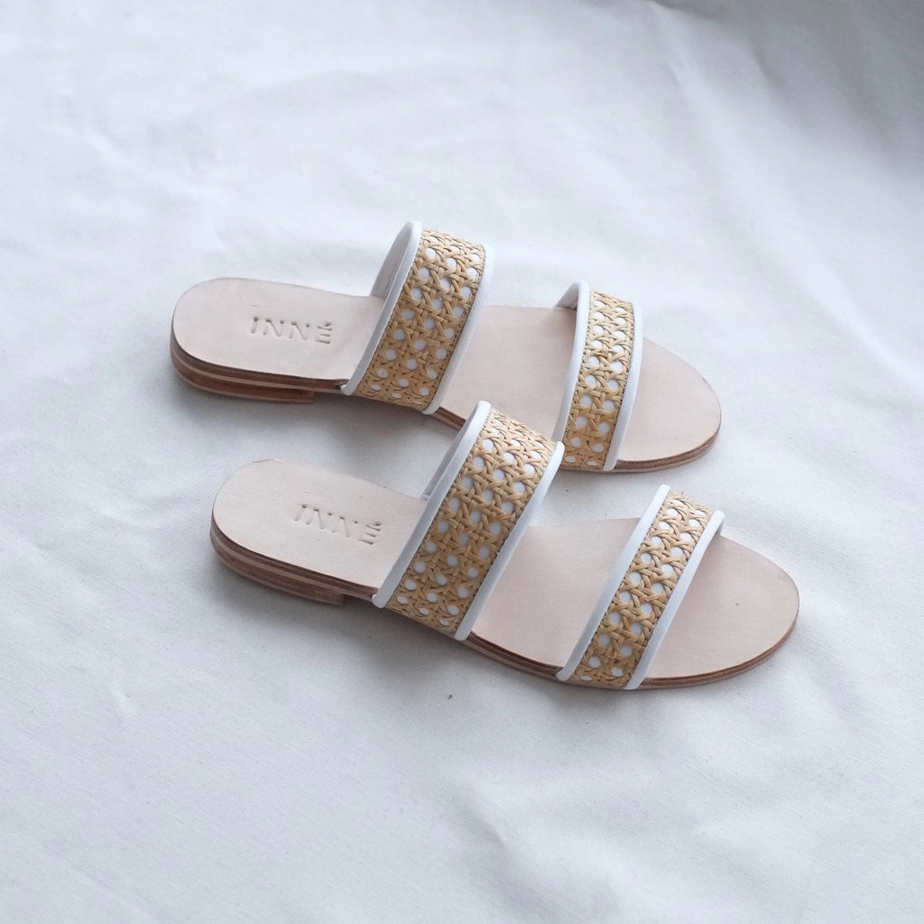 Sinta Double Strap Slide - White