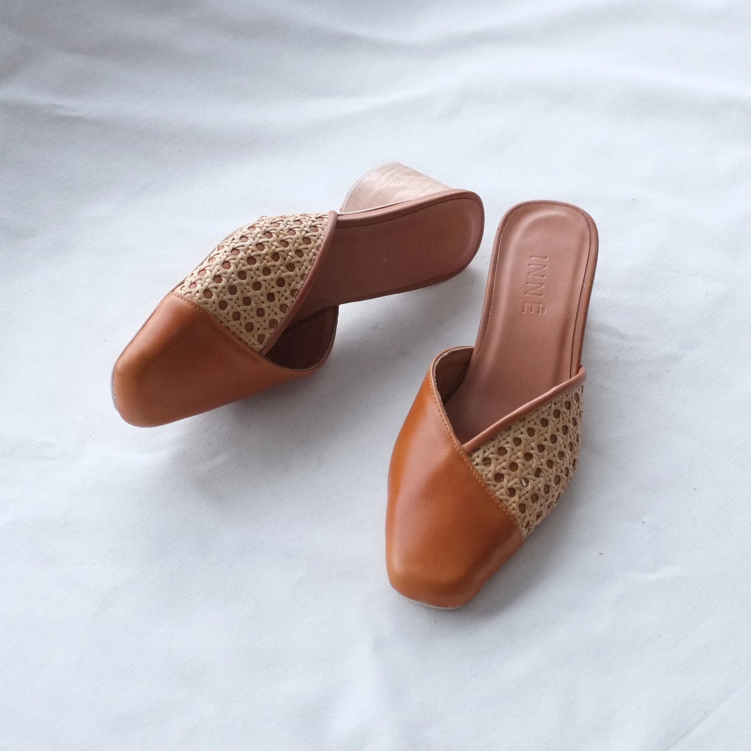 Sandra Square Toe Mule - Tan