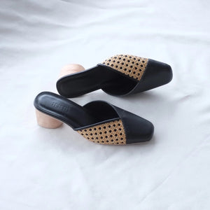 Sandra Square Toe Mule - Black