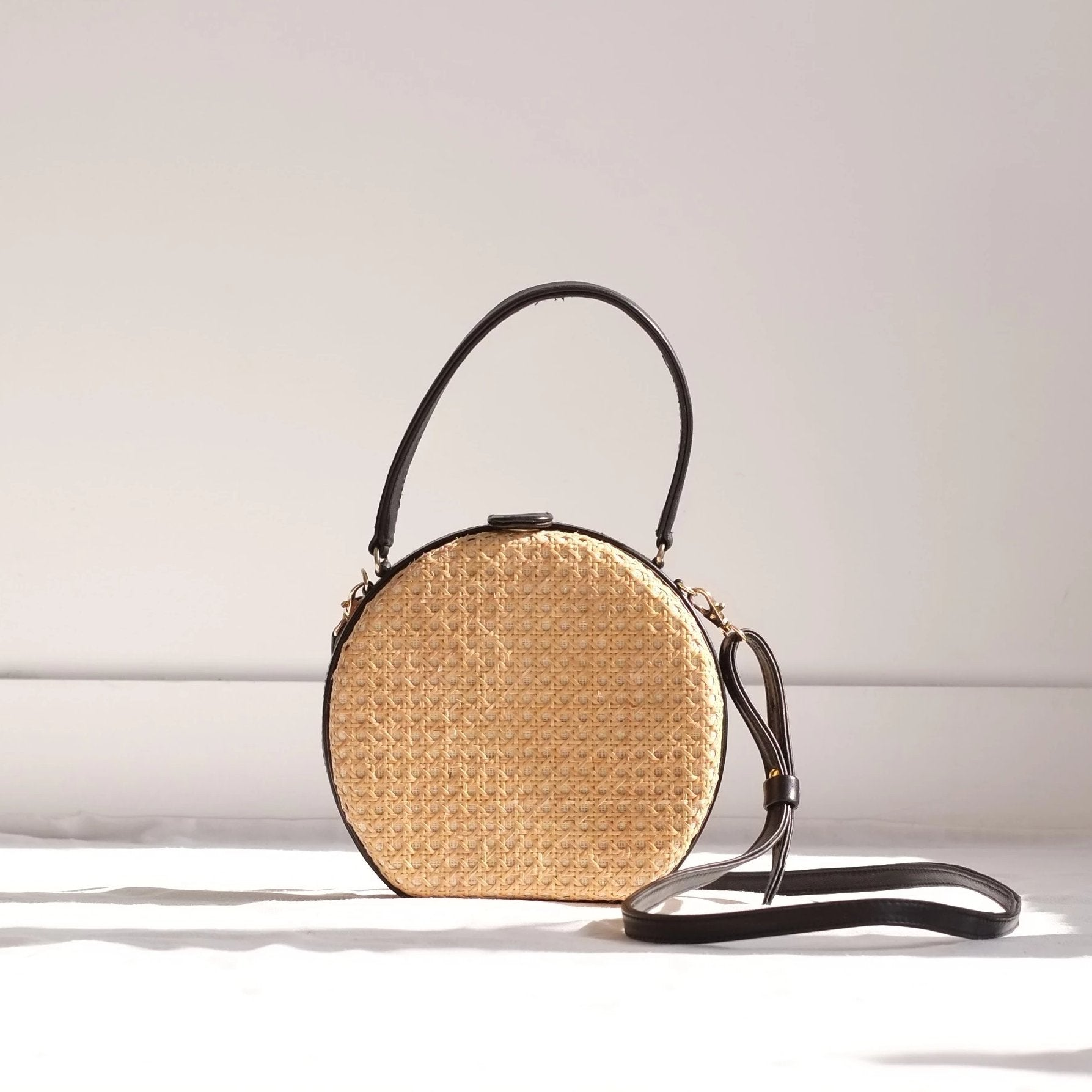 Teresita Mini Round Tote - Black / Natural